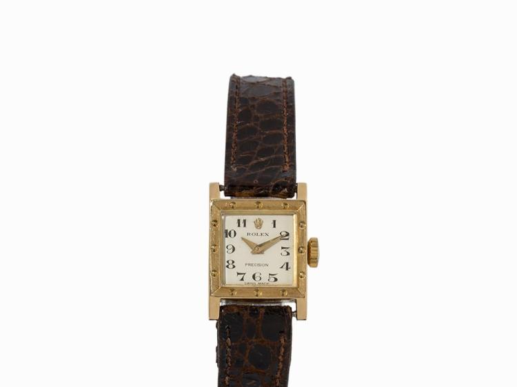 Rolex Precision Ladies' Watch, 18K Gold, Switzerland, 1940s