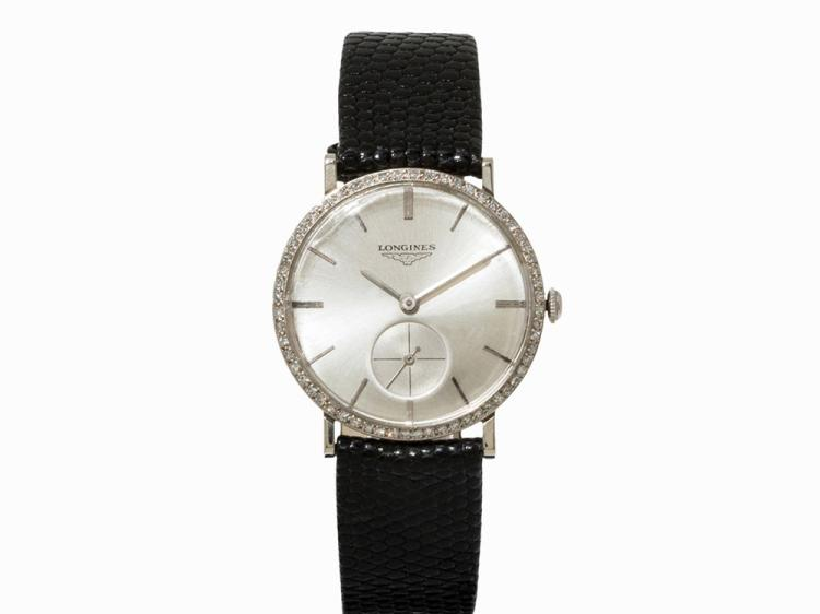 Longines Wristwatch,14K White Gold, Switzerland, 1950s