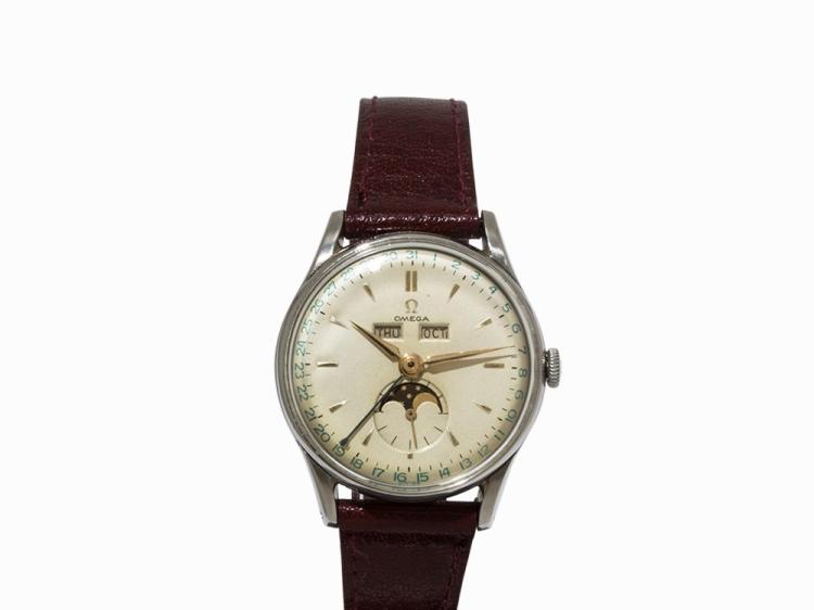 Omega Calendar Vintage Wristwatch, Switzerland, 1947-1948