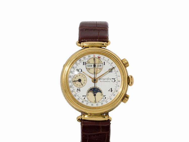 Georges Gay Chronograph , 18K Gold, Switzerland, c. 1990