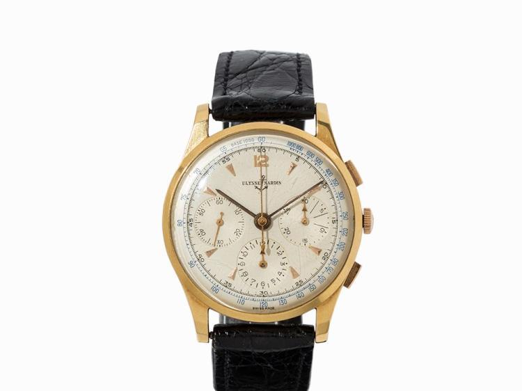 Ulysse Nardin Chronograph, 18K Gold, Switzerland, c. 1960