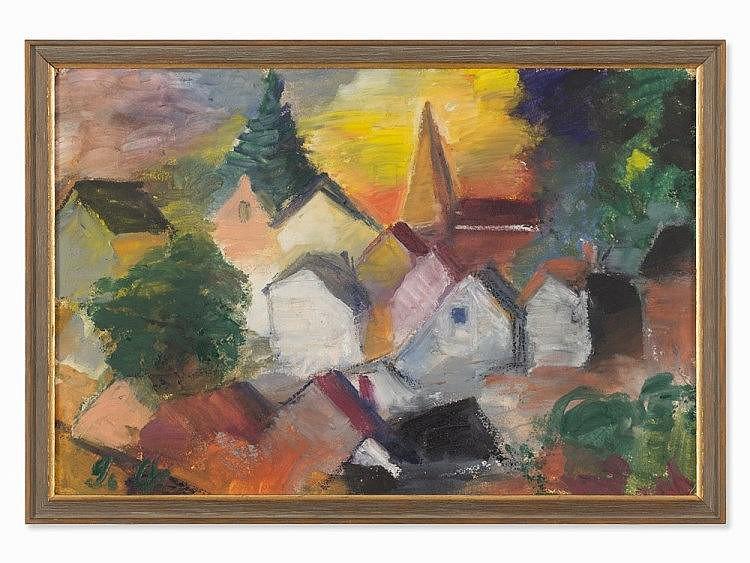 Barthel Gilles (1891-1977), Dorf mit Kirche, Encaustic, 1953