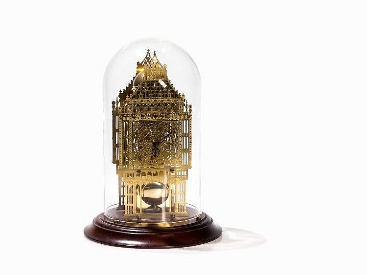 A Brass Skeleton Clock Big Ben Glass Dome England 20th