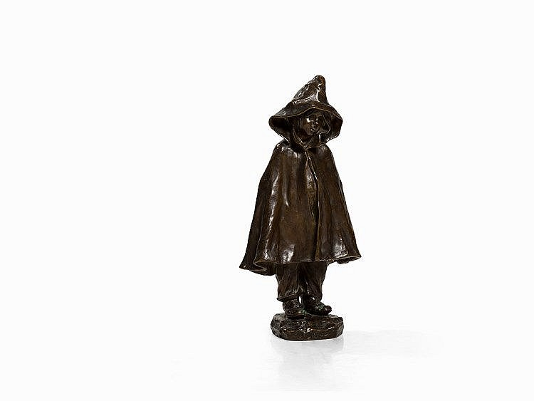 Elisa Beetz-Charpentier, Girl with the Raincoat, Bronze, 1903