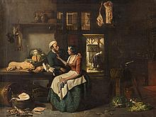 Hubertus van Hove, Kitchen Interior, Oil Painting, 19th C.