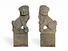 Important Pair of Extremely Large Stone Fo Lions, 17th C