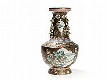 Gilt Ground Famille Rose 'Hu' Vase with Lush Décor, Daoguang