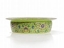 Famille Rose Lime Green Porcelain Basin, Jiaqing Mark & Period