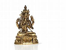 Sino-Tibetan Fire-Gilt Bronze of Avalokiteshvara, 18th C