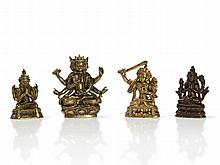 Sino-Tibetan Miniature Bronzes of Various Deities, 19th C