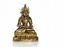 Fire-Gilt Miniature Bronze of Bodhisattva Amitāyus, 18 / 19th C