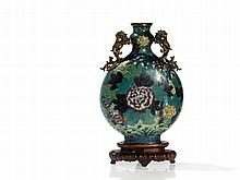Cloisonné and Bronze Moonflask 'Bianhu' with Lion Handles, Qing
