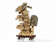 Imposing Ivory Carving of a Pine Tree, China, c. 1920