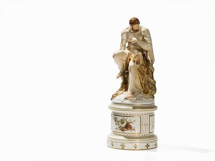 porcelain figure heracles wilhelm christian meyer kpm 191. Black Bedroom Furniture Sets. Home Design Ideas