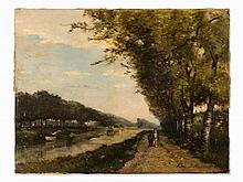 C. Edmond Renault, Ride on the Riverbank, Oil Painting, 1879
