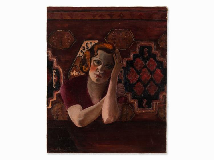 Victor Bart, Female Portrait in Red, Oil, 1933