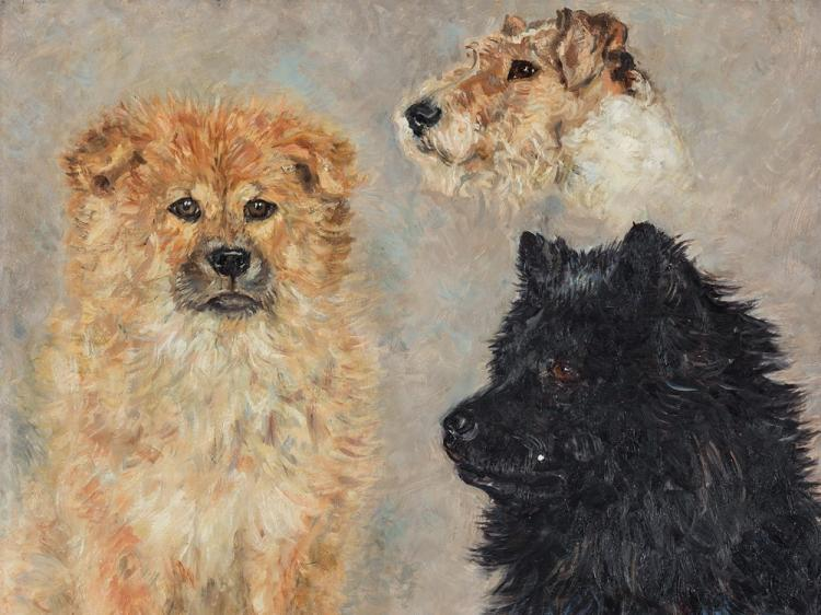 Rudolf Tewes, Three Dogs, Oil Painting, 1934
