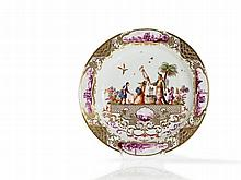 Meissen Porcelain Plate with Painting after Höroldt, c. 1740
