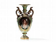 KPM Porcelain Vase with Portrait after Conrad Kiesel, 19th C