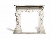 Carrara Marble Chimney Piece, Rococo Style, Vienna, 1850