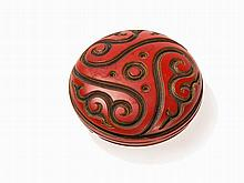 Cinnabar Lacquer Box & Cover with Stylized Carving, Meiji