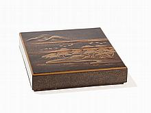 Takamaki-e Lacquer Box and Cover with River Landscape, Meiji