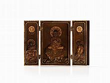 Three Piece Miniature Zushi Shrine with Buddha Amitabha, Meiji