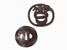 Pair of Iron Tsuba with Inscription and Sukashibori, Meiji