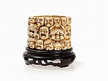 Signed Ivory Brush Pot with Grotesque Masks, Japan, Meiji