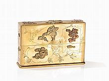 Bronze Box with Shakudo and Sentoku Overlay, Japan, Meiji