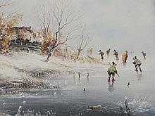 """Oil Painting """"On the Ice"""", A. van den Hoeven, late 20th Century"""