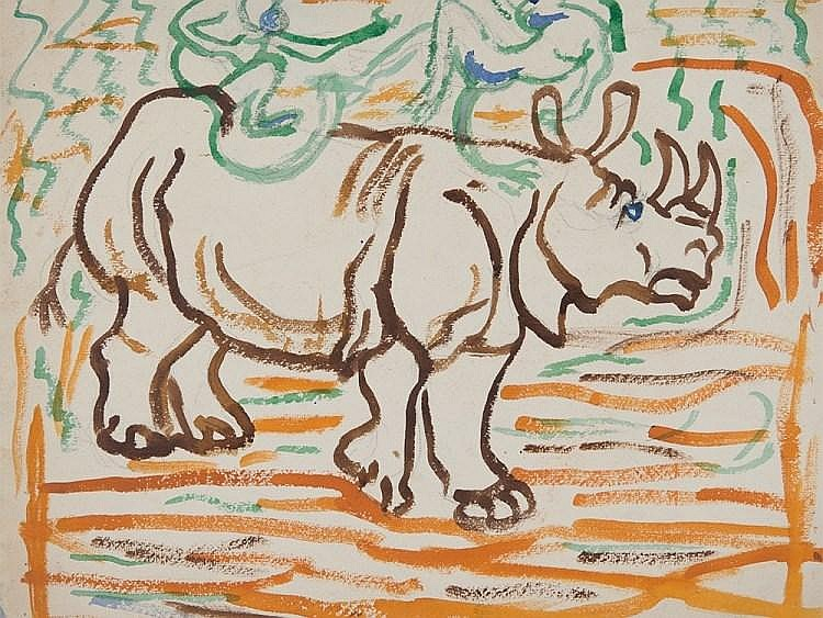 "Water Colour ""Rhino and Monkeys"", Wagner, late 20th Century"