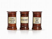 Three Wooden Apothecary Jars with Original Labeling, 19th C