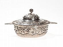 German Lidded Silver Bowl with Handles & Floral Décor, c. 1890
