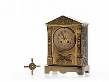 French Mantel Clock with decorative Brass Case, 19th C
