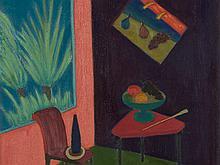 Nicola Galante, Interno con Sedia e Tavolino Frutteria, 1963