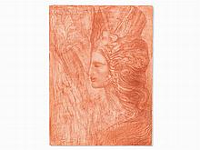 Ernst Fuchs, Portrait in Profile, Red Chalk, 1974