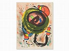 Joan Miró, From: Les Voyants, Lithograph in Colors, 1970