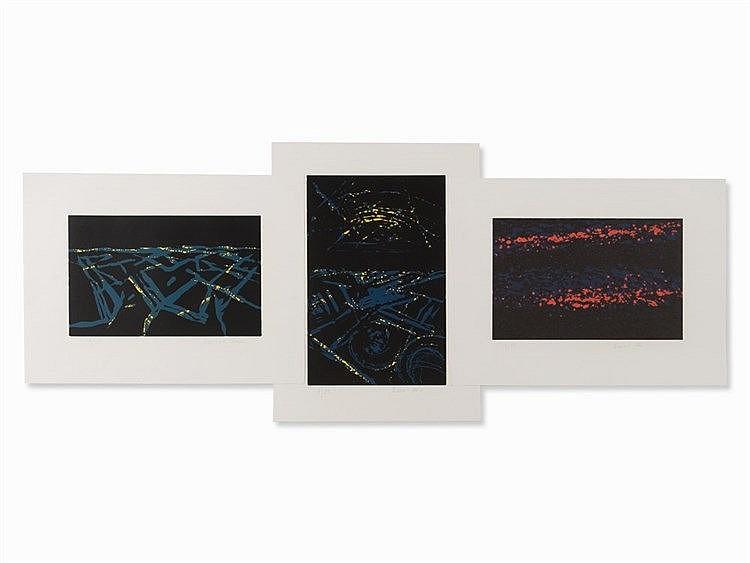 Bernard Lokai, Stars, Cityscape 1 and 2, 3 Woodcuts, c. 2000