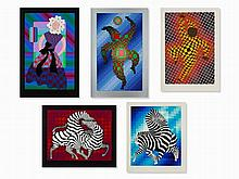Victor Vasarely, 5 Serigraphs in Colors, 2nd Half of 20th C.