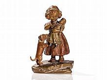 Bergmann Vienna Bronze 'Girl with Doll and Dog', around 1920