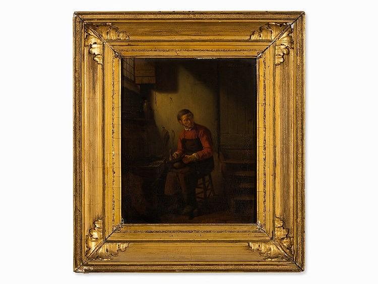 Wilhelm Rikkers (1812-1873), Oil on Wood, The Cobbler, c. 1850
