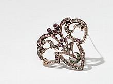 Historicist brooch with diamonds, rubies & emeralds, ca. 1900