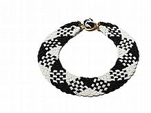 Vintage Necklace with Black and White Beads, Italy, 1920s