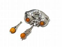 Skonvirke, Two Silver Items with Amber, Denmark, around 1930