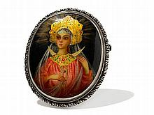 Lacquer Brooch with a Portrait of a Princess, Russia, c. 1970