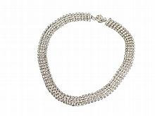 Iridescent White Rhinestones Necklace, 1950s