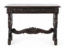 Small trestle table with surrounding carving work, 19th C