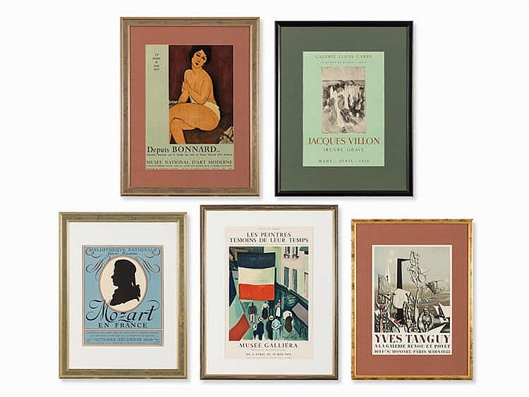 5 Framed Exhibition Posters, Paris, 1950s