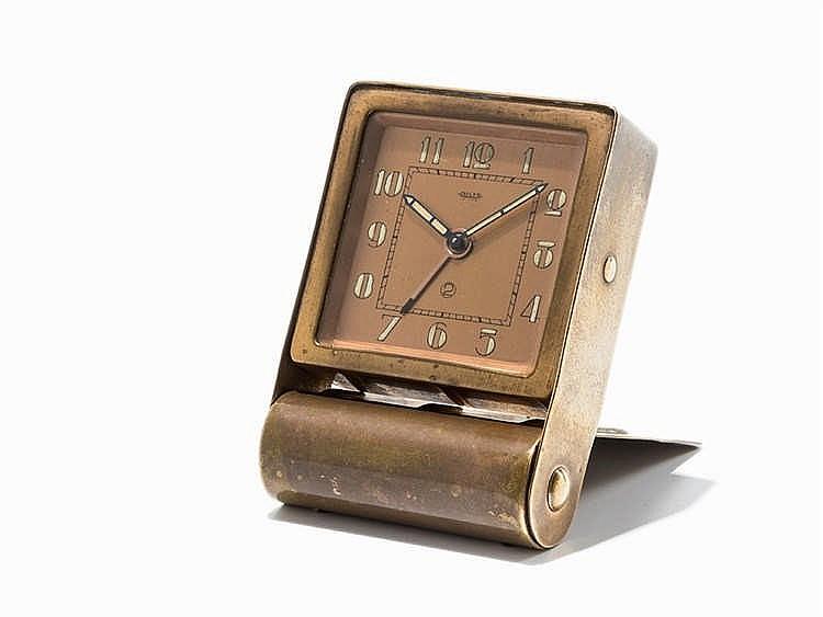 Jaeger Travel Alarm Clock, Switzerland, circa 1950